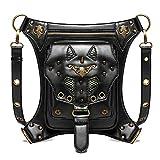 jypcbhb Steampunk Cintura Pierna Bolsas Retro PU Cuero Bandolera Artesanal Cremallera Mensajero Mujer College Viento Bolsa para Cadera Moda Personalidad