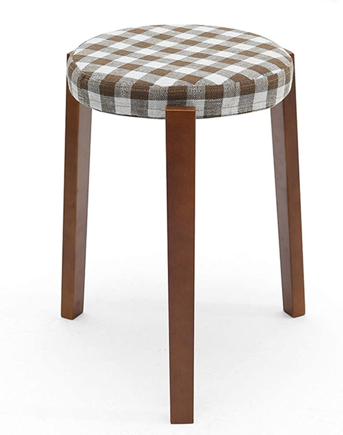 Solid Wood Stool, Fabric Dining Stool Fashion Creative Small Bench Simple Stool Stool Dressing Stool Bearing 150 Kg (color   Plaid, Size   Walnut Legs)