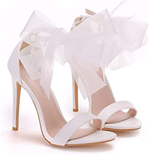 Women's Bridal Shoes,Women's Court Shoes,11cm temperament white bow shallow heel sandals Wedding shoes Mary Jane Pumps,Clubbing Evening Wedding Party Dress Big Sizes Bridesmaid shoes,40 EU