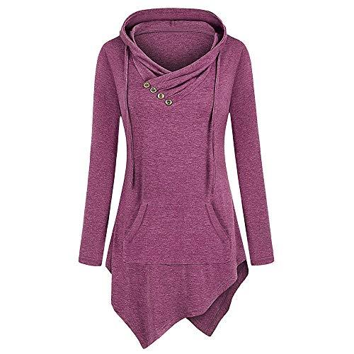 Damen Sweatshirt Kapuzenpullover Jacke mit Kapuze Hoodie Pullover Sweatjacke Kapuzenjacke Hoodie Langarm solide Pullover Tasche unregelmäßigen Saum Bluse Tops (M,Lila)