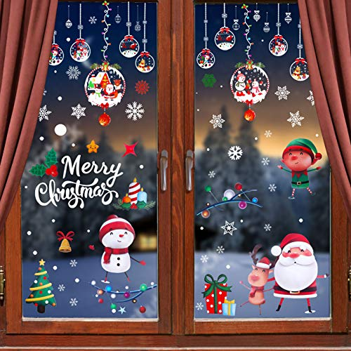 178PCS Christmas Window Clings Snowflake Stickers Christmas Indoor Outdoor Window Santa Claus Reindeer Decals Decorations Xmas Holiday Party Decor Supplies 6 Sheets