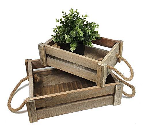 Juego de 2 cajas de madera – 39 y 32 cm – Caja decorativa para vino o mesa de madera auténtica