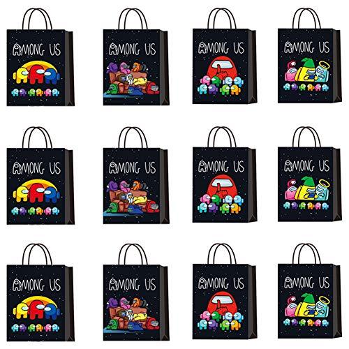Bolsa de regalo de 12 piezas de Among us Werewolf Kill Theme, bolsa de papel portátil, bolsa de dulces, bocadillos, galletas y pastelería, bolsa de papel kraft reutilizable, bolsa de asas