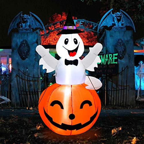 MerryXGift Halloween Inflatable Ghost in Pumpkin with Hat 4.5ft, Airblown Inflatable Halloween Blow up Decorations for Holiday Indoor Outdoor Yard Garden Lawn