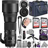 INCLUDES: Sigma 150-600mm f/5-6.3 DG OS HSM Super Telephoto Zoom Lens + Sigma USB Dock + Altura Photo Venture Camera Bag + SanDisk 64GB and 32GB C10 Ultra UHS-I SDXC Memory Cards + Altura Photo Rapid Fire Neck Strap + Altura Photo Mini Tripod with Pi...