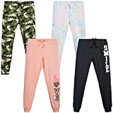 Love Republic Girls' Sweatpants - Active Warm-Up Track Fleece Jogger Pants (4 Pack), Size 10/12, Charcoal Tie Dye/Peach Camo