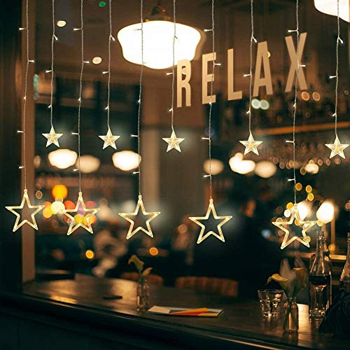 Ibello Cortina de Luces con 12 Estrellas Cadena de Luces LED con Enchufe, 8 Modos de Iluminación Ideal para Ventana, Navidad, Boda, Puerta, Dormitorio, Festival, Cumpleaños