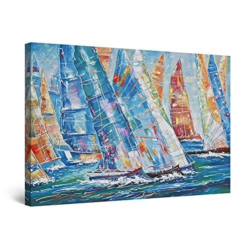 Startonight Quadro su Tela Sfilata di Barche a Vela, Blu Intenso - Grandi Quadri Moderni Mare - Stampe Camere da Letto 80 x 120 cm