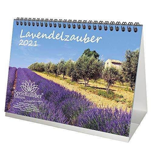 Lavendelzauber DIN A5 Tischkalender für 2021 Lavendel - Geschenkset Inhalt: 1x Kalender, 1x Weihnachtskarte (insgesamt 2 Teile)