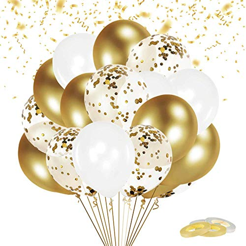 FUNXGO® Luftballon Set, 60 Stück Ballons Set, Konfetti Luftballons & Latex Ballons mit 4 Bändern für Geburtstag, Hochzeit, Jubiläum , Party Dekoration (Gold Set)