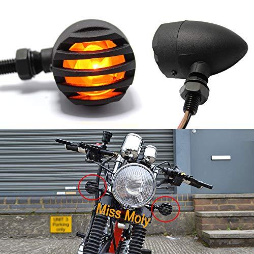 1 Par Moto Intermitentes Luz, 12V Indicador LED Luces para Cruiser Bobber Chopper (Ámbar)