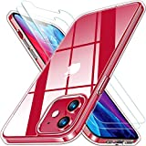RANVOO Clear Case Compatible with iPhone 12/iPhone 12 Pro Case with 2 Screen Protectors, [Anti-Yellowing] Protective Shockproof Cover with TPU Bumper and Transparent Hard PC Back 6.1 inch- Clear