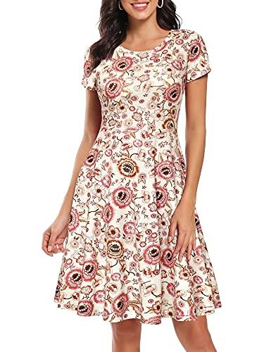 HUHOT Midi Dresses for Women Spring Dress for Women Easter Dress for Women Semi Casual Dress, Women Summer A Line Flared Midi Dress