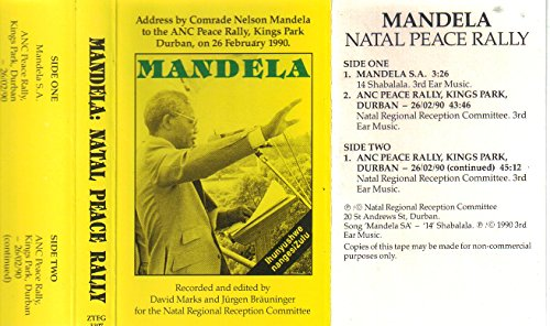 Mandela, Address by Comrade Nelson Mandela to the ANC Peace Rally, Kings Park Durban, on 26 February 1990 (Audio Cassette)
