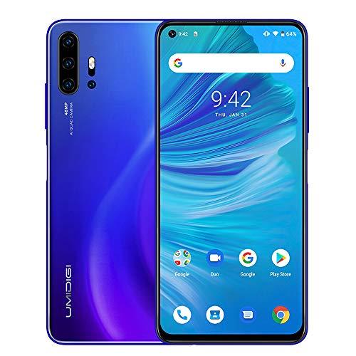 Unlocked Smart Phone 2020, UMIDIGI F2 Side Fingerprint 48MP AI Quad Camera, 6.53'' FHD+ Smartphone 5150mAh RAM 6G ROM 128GB Fast Charging, Android 10 NFC Blue