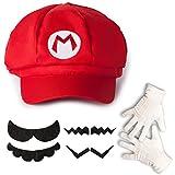 Katara- Juego de Disfraz Super Bros-Gorra de Mario, 4 Bigotes, Guantes, Adultos Niños, Color Rojo, talla única