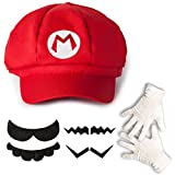 Katara 1659 - Super Mario Set, Mütze + Schnurrbart + Handschuhe, Kostüm Verkleidung Fasching...