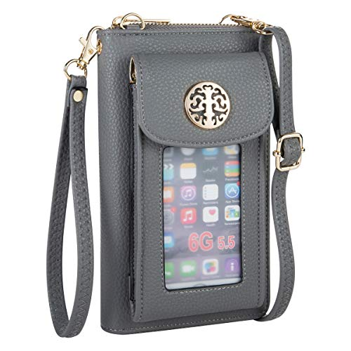 PUFER Women Wallets with Cell Phone Pocket Wristlet with Shoulder Strap Grey