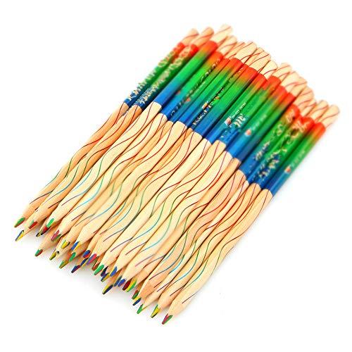 Lapices Colores BLTLYX 10 Unids/lote Diy Madera Coloreada Lápiz De Madera Arco Iris Color Lápiz Para La Escuela Infantil Graffiti Dibujo Pintura 17.5cm Color arco iris
