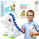 T-Rex Plush Dinosaur Coloring Book Gift Set, Arts and Crafts Soft DIY Washable Dino Doodle Doll Stuffed Animal Toy, Painting Craft Kit Toys, Play Dinosaur Gifts for Kids Boys and Girls Ages 3-5 5-7