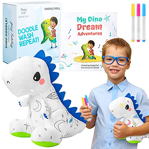 T-Rex Plush Dinosaur Coloring Book Gift Set  Arts and Crafts Soft DIY Washable Dino Doodle Doll Stuffed Animal Toy  Painting Craft Kit Toys  Play Dinosaur Gifts for Kids Boys and Girls Ages 3-5 5-7