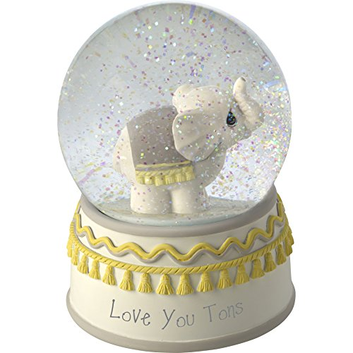 Precious Moments Resin/Glass Love You Tons Elephant Musical Snow Globe, Gray Chevron