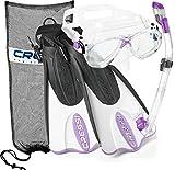 Cressi Palau Mask Fin Snorkel Set with Snorkeling Gear Bag, Lilac, S/M | (Men's 4-7) (Women's 5-8)