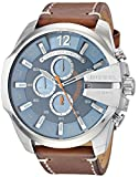 Diesel Men's Mega Chief Quartz Leather Brown with Blue Dial DZ4458