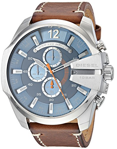 Diesel Men's Mega Chief Stainless Steel Japanese-Quartz Watch with Leather Calfskin Strap, Brown, 26 (Model: DZ4458)