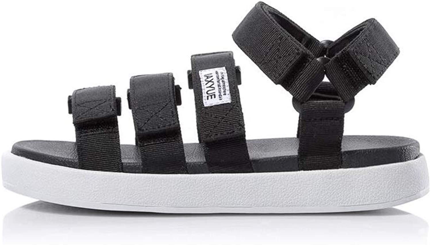 HIAO sandals Sandals shoes Cloth Belt Surface Velcro Breathable Rubber Sole Boy Youth Daily Outdoor Travel Non-slip Beach Black White Interphase Cool (Size   42)