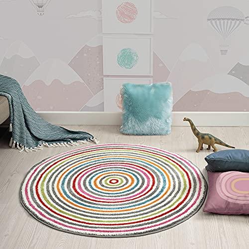 the carpet Monde Kids Moderner Weicher Kinderteppich, Weicher Flor, Pflegeleicht, Farbecht, Lebendige Farben, Bunt, 120 x 120 cm Rund