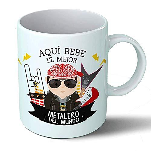 Planetacase Taza Desayuno Aquí Bebe el Mejor metalero del Mundo Regalo Original Musica Heavy Ceramica 330 mL