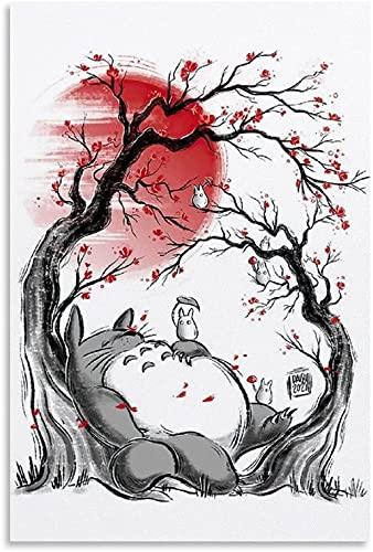 DCPPCPD Tableau Toile Decoration 60 * 90cm sans Cadre Miyazaki Anime Moive Affiche Mon Voisin Totoro Studio Ghibli Photo Impression Moderne Famille Chambre décor