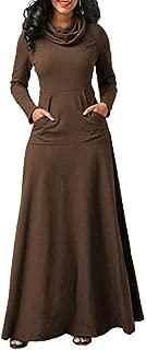 Leomodo Women Plus Size Warm Casual Pocket Long Sleeve Vintage Long Dress Elegant Dress