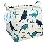 Square Storage Bins Waterproof Canvas Kids Laundry/Nursery Boxes for Shelves/Gift Baskets/Toy Organizer/Baby Room Decor (square dinosaur)