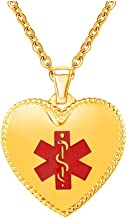 BAIYI Medical Alert ID Necklace Stainless Steel Charm Heart Dog Tag for Women Gold & Silver 20-24 inch Free Engraving