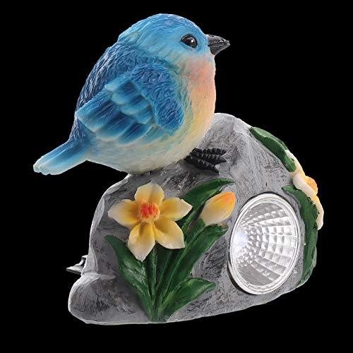 Doitool Luces de Roca Solar Luces de Jardín de Animales Estatua de Jardín de Pájaros de Resina Luces de Piedra con Energía Solar Lámpara Exterior Decoración para Césped