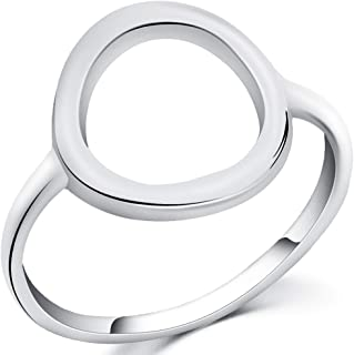Stainless Steel Open Circle Karma Statement Promise Ring