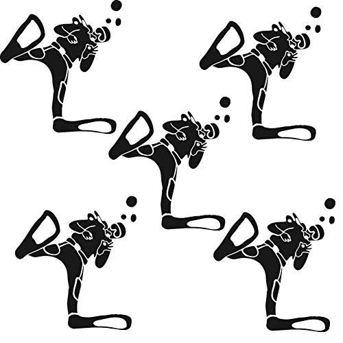 Fully 5stk. Auto Aufkleber Taucher Diver Tauchen Schwimmen Schnorcheln Sticker Wasser Wassersport (Schwarz, 13X12CM/5.11X4.72)