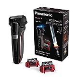 Panasonic ES-LL41-K503 Afeitadora, Recortadora y Perfilador Todo en Uno, Wet&Dry, 3 Cuchillas, Accesorio TRIMMER, Modo Turbo, Indicadores LED, Motor Lineal 13.000 Oscilaciones, Color Negro y Rojo