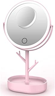 Tabletop Makeup Mirror with Storage Case, USB Rechargeable Vanity Mirror with 1X / 5 X Magnification, Touchscreen Dimmable LED Light for Countertop Cosmetic Makeup,Pink