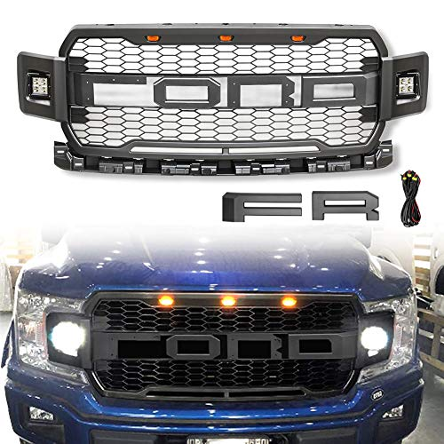 VZ4X4 Front Grill for F150 2018 2019 2020, Including XL, XLT, LARIAT, King Ranch, Platinum and Limited, Raptor Style Grille for Ford With 3 Amber LED Lights and 2 Side Led Lights - (IT IS GRAY)