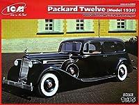 ICM 1/35スケール Packard Twelve Model 1936 第二次世界大戦 ソビエトリーダーカー 5人乗りのフィギュア付き - プラスチックカーモデル組み立てキット #35535