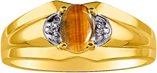 RYLOS 14K Yellow Gold Ring with Oval Shape Gemstone & Genuine Sparkling Diamonds in Classic Designer Band - 7X5MM Color St...