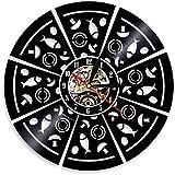 Reloj de Pared silencioso de Vinilo con Registro de Pizza, Reloj de Pared con Forma de Seta y Pizza, Reloj de decoración de Registro, 30x30 cm
