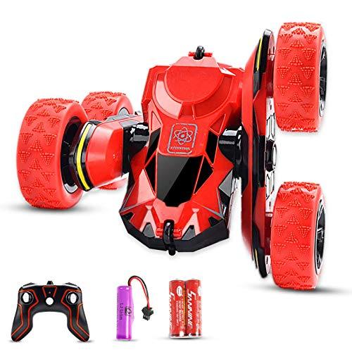 PUZ Toy RC Stunt Auto Ferngesteuertes Auto für Kinder ab 5 Jahre 2.4Ghz Ferngesteuertes Rennauto 12KMH Schnelle Geschwindigkeit 360 ° Drehung Off Road LKW Fernbedienung Spielzeug Rot