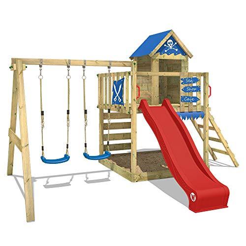 WICKEY Spielturm Smart Cave - Klettergerüst mit Stelzenhaus, Schaukel, Sandkasten, Kletterwand und -leiter, blauer Plane und roter Wellenrutsche