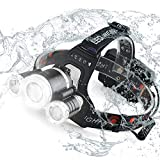 Acsin Zoomable LED Headlamp Flashlight with USB Charger, Super Bright T6 LED 4