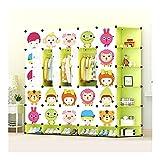 TXOZ Unidad portátil de Almacenamiento Cubos Linda niños Animales de Dibujos Animados for el Dormitorio, Armario Escudo Ajustable con Ganchos for la Ropa Libros Juguetes y Accesorios (25 Cubos) Verde