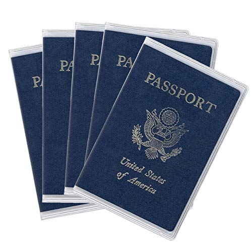 5 Pack Clear Passport Cover, Arsmat Clear Passport Holder Travel Document Organizer, Plastic US Passport Hold